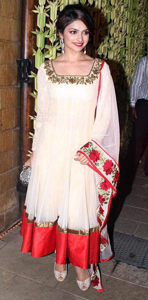 Prachi Desai's red and white ethereal anarkali would certainly stand out at an engagement event.