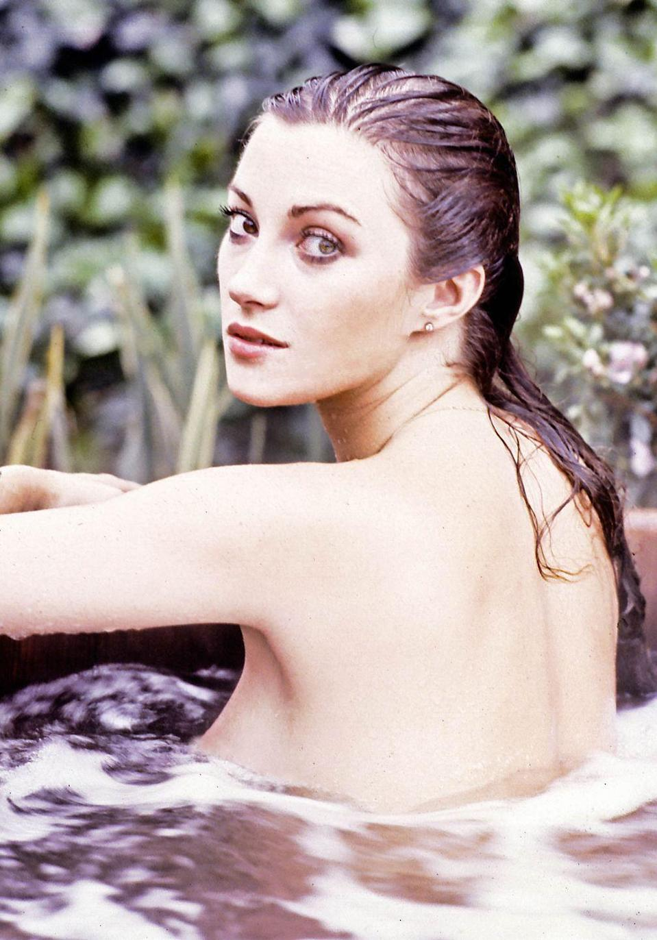 <p>Jane Seymour in her hot tub at her Hollywood Hills home in March 1979. </p>
