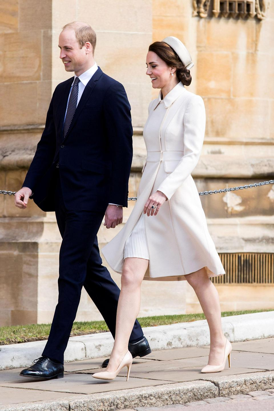 """<p><strong>When:</strong> April 16, 2017 <strong>Where:</strong> Easter Sunday service at St. George's Chapel near England's Windsor Castle <strong>Wearing:</strong> Catherine Walker & Co bespoke coat <strong>Get the Look:</strong> Black Halo 3/4 Sleeve Jackie O Dress, $375; <a href=""""https://click.linksynergy.com/fs-bin/click?id=93xLBvPhAeE&subid=0&offerid=504092.1&type=10&tmpid=23604&RD_PARM1=https%253A%252F%252Fwww.shopbop.com%252Fsleeve-jackie-dress-black-halo%252Fvp%252Fv%253D1%252F1526060763.htm%253Ffm%253Dsearch-shopbysize%2526os%253Dfalse&u1=POROYALSKateSpringStyleMM"""" rel=""""nofollow noopener"""" target=""""_blank"""" data-ylk=""""slk:shopbop.com"""" class=""""link rapid-noclick-resp"""">shopbop.com</a> French Connection Long Sleeve Wrap Midi Dress, $135; <a href=""""https://click.linksynergy.com/fs-bin/click?id=93xLBvPhAeE&subid=0&offerid=460292.1&type=10&tmpid=20904&RD_PARM1=http%3A%2F%2Fus.asos.com%2Ffrench-connection%2Ffrench-connection-long-sleeve-wrap-midi-dress%2Fprd%2F9101315%3Fclr%3Dlinenwhite%2526SearchQuery%3Dwhite%2520long%2520sleeve%2520dress%2526gridcolumn%3D3%2526gridrow%3D17%2526gridsize%3D4%2526pge%3D1%2526pgesize%3D72%2526totalstyles%3D150&u1=POROYALSKateSpringStyleMM"""" rel=""""nofollow noopener"""" target=""""_blank"""" data-ylk=""""slk:asos.com"""" class=""""link rapid-noclick-resp"""">asos.com</a> Kate Belted Shawl Collar Coat, $23; <a href=""""http://www.anrdoezrs.net/links/8029122/type/dlg/sid/POROYALSKateSpringStyleMM/http://us.boohoo.com/kate-belted-shawl-collar-coat/AZZ08018.html?color=123"""" rel=""""nofollow noopener"""" target=""""_blank"""" data-ylk=""""slk:boohoo.com"""" class=""""link rapid-noclick-resp"""">boohoo.com</a></p>"""