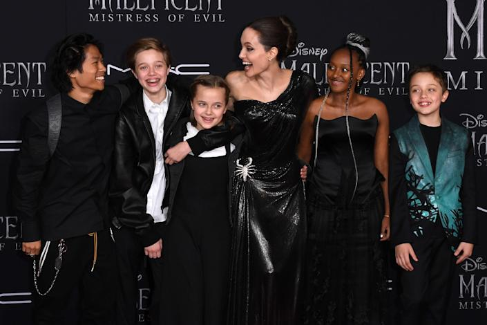 Angelina Jolie with her children (from left) Pax, Shiloh, Vivienne, Zahara, and Knox (Maddox is not pictured).