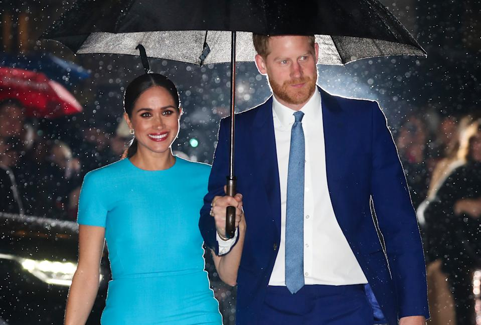 LONDON, ENGLAND - MARCH 05: Meghan, Duchess of Sussex and Prince Harry, Duke of Sussex attend The Endeavour Fund Awards at Mansion House on March 05, 2020 in London, England. (Photo by Chris Jackson/Getty Images)