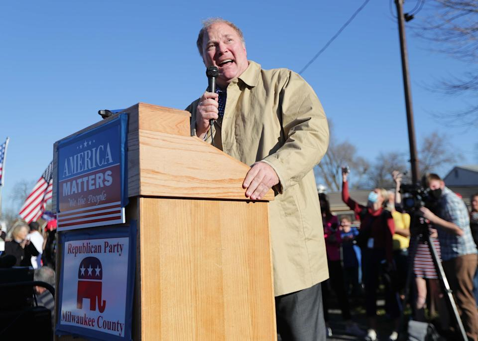 Michael Gableman, formerly a justice of the Wisconsin Supreme Court, speaks at a rally Nov. 7, 2020, for President Donald Trump at American Serb Hall on West Oklahoma Avenue in Milwaukee.