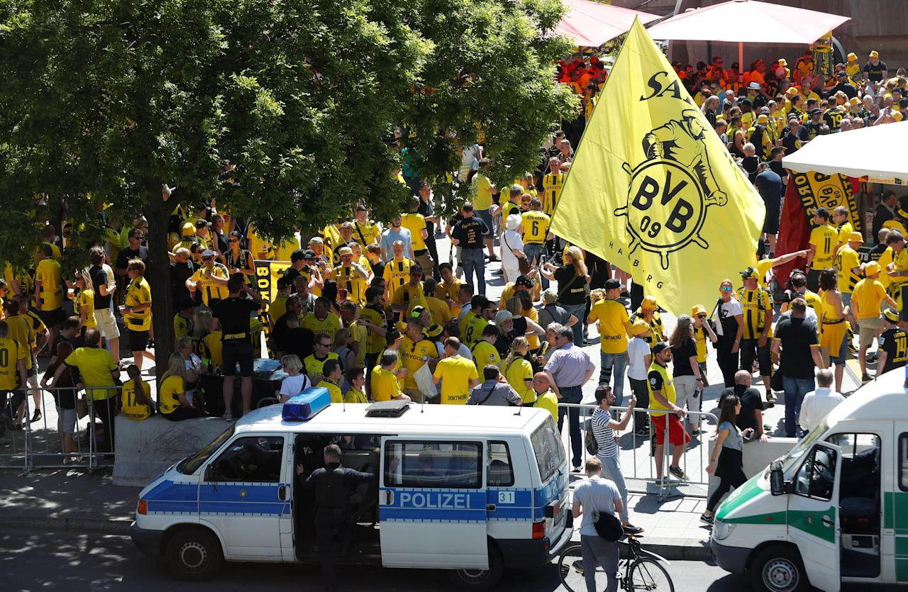 Fans of Borussia Dortmund gather at Breitscheidplatz before the German Cup final between Eintracht Frankfurt and Borussia Dortmund in Berlin, Germany May 27, 2017. REUTERS/Fabrizio Bensch