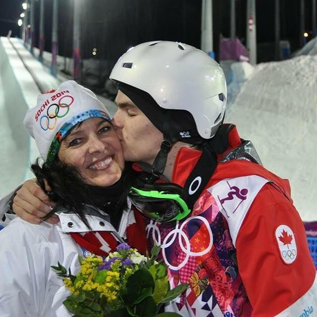 <p>Mikael Kingsbury fulfilled his childhood dream of becoming an Olympic champion after taking gold in the moguls competition. Here he embraces his mom after winning the silver medal in 2014. (Instagram   @mikaelkingsbury ) </p>