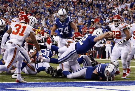 Jan 4, 2014; Indianapolis, IN, USA; Indianapolis Colts quarterback Andrew Luck (12) dives in for a touchdown against the Kansas City Chiefs in the fourth quarter during the 2013 AFC wild card playoff football game at Lucas Oil Stadium. Mandatory Credit: Brian Spurlock-USA TODAY Sports