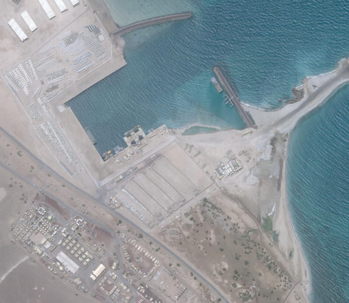 A June 17, 2019, satellite photo from Planet Labs Inc. shows that barracks have been demolished at a port at an Emirati military base in Assab, Eritrea. The United Arab Emirates is dismantling parts of a military base it runs in the East African nation of Eritrea after it pulled back from the grinding war in nearby Yemen, satellite photos analyzed by The Associated Press show. (Planet Labs Inc. via AP)