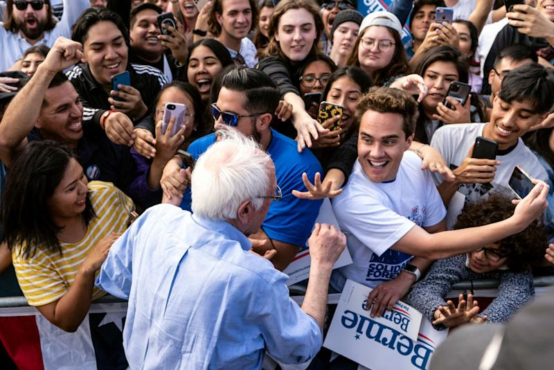 Bernie Sanders greets supporters during a campaign rally in Santa Ana, California. Source: Getty
