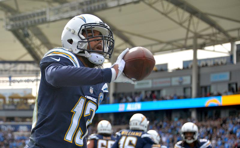CARSON, CA - DECEMBER 09: Los Angeles Chargers wide receiver Keenan Allen (13) tosses the football into the stands after his first quarter touchdown reception at StubHub Center in Carson on Sunday, Dec. 9, 2018. (Photo by Scott Varley/Digital First Media/Torrance Daily Breeze via Getty Images)