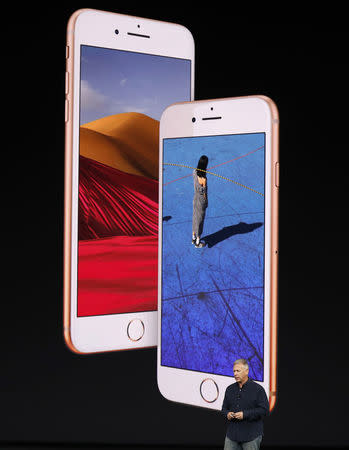 Apple Senior Vice President of Worldwide Marketing, Phil Schiller, introduces the iPhone 8 during a launch event in Cupertino, California, U.S. September 12, 2017. REUTERS/Stephen Lam