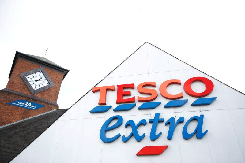 FILE PHOTO: A Tesco sign is pictured outside a Tesco supermarket in Hatfield