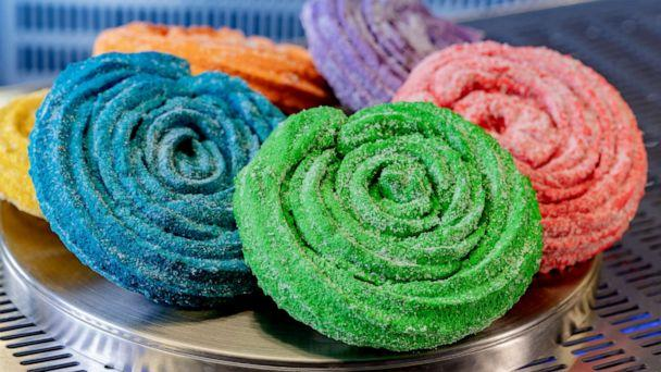 PHOTO: Terran Treats on the Avengers Campus features a menu of intergalactic eats, including colorful Sweet Spiral Ration Churros with unique flavors. (David Nguyen/Disneyland Resort)