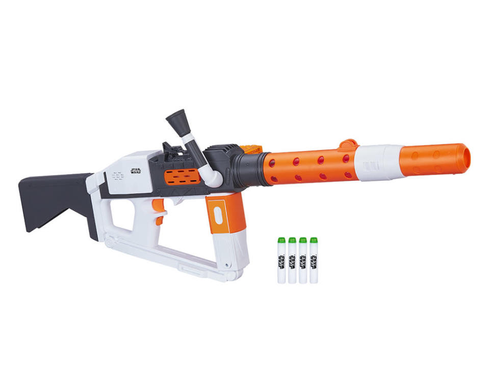"""<p>""""The Resistance doesn't stand a chance against this Nerf Glowstrike Deluxe Blaster! Fight like a First Order Stormtrooper with laser blast sound effects and motorized blasting that fires 12 darts in a row."""" $69.99 (Photo: Hasbro) </p>"""