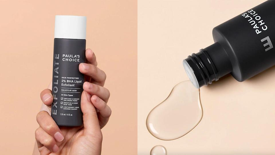 Unclog your pores with the Paula's Choice Skin Perfecting 2{028e8b43b440f88d50a94b0ac799d5b93a220d942414697744f001bd74eb64d0} BHA Liquid Exfoliant.