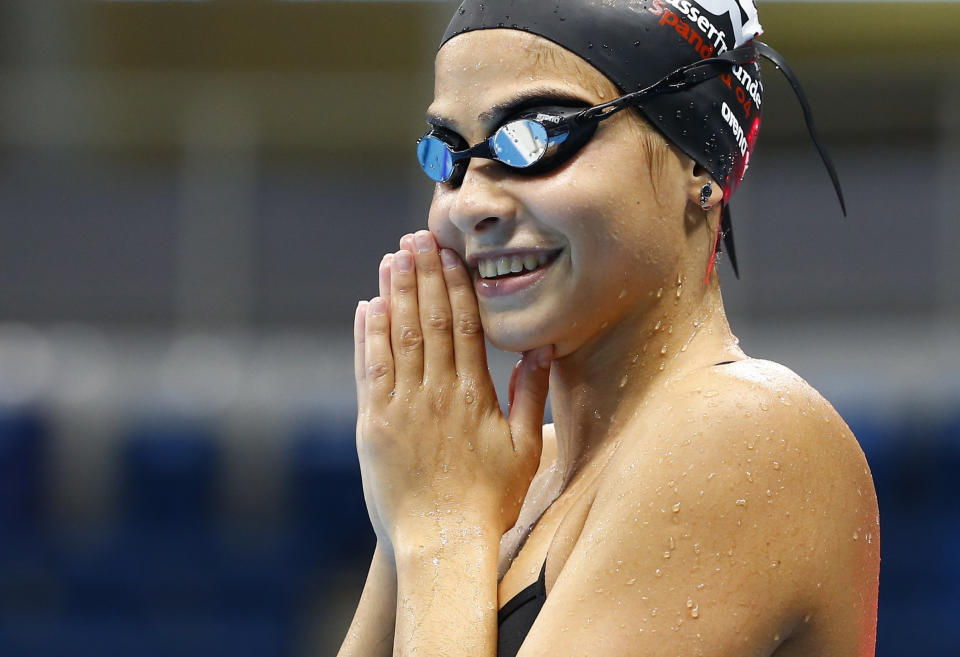Rio Olympics - Olympic Park - Rio de Janeiro, Brazil - 01/08/2016. Syrian refugee team swimmer Yusra Mardini, 18, from Syria practices at the Olympic swimming venue.           REUTERS/Michael Dalder  FOR EDITORIAL USE ONLY. NOT FOR SALE FOR MARKETING OR ADVERTISING CAMPAIGNS.