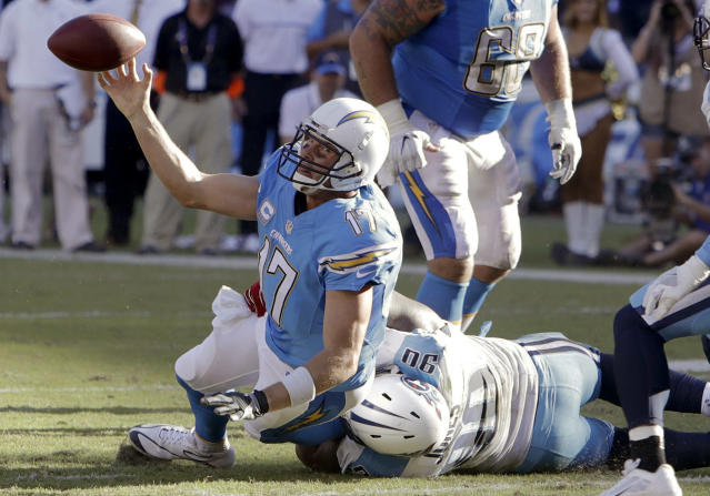 <p>San Diego Chargers quarterback Philip Rivers tries to get rid of the ball as he is hauled down by Tennessee Titans defensive end DaQuan Jones during the first half of an NFL football game Sunday, Nov. 6, 2016, in San Diego. (AP Photo/Rick Scuteri) </p>