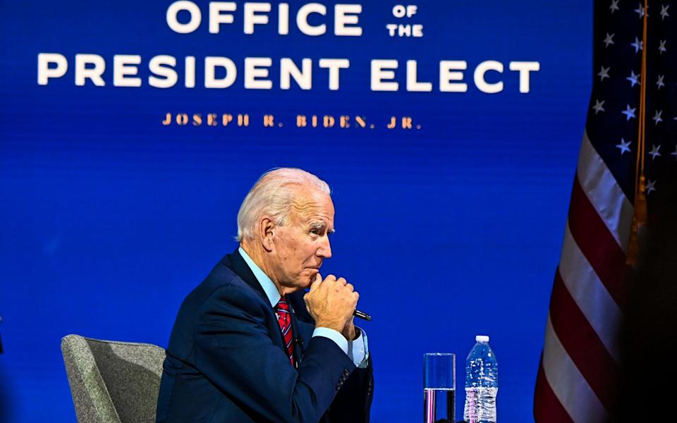 US President-elect Joe Biden participates in a virtual meeting with the United States Conference of Mayors at the Queen in Wilmington - AFP