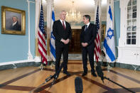 Secretary of State Antony Blinken, right, meets with Israel's Defense Minister Benny Gantz, Thursday, June 3, 2021, at the State Department in Washington. (AP Photo/Jacquelyn Martin)