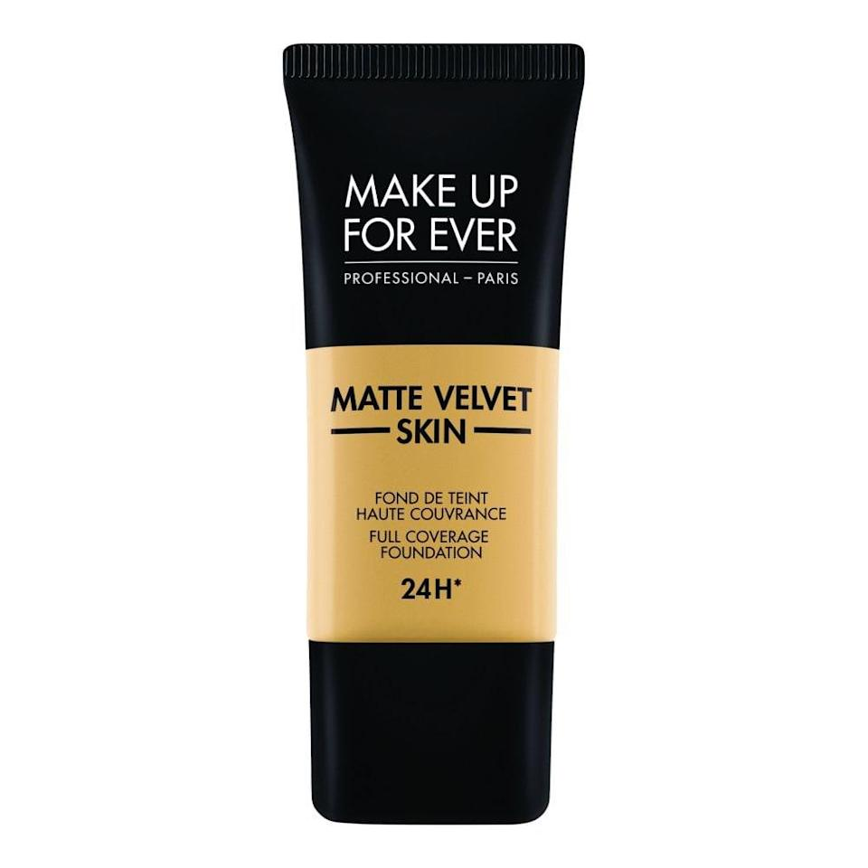 "<p>If you have oily skin, this one's for you. The Make Up For Ever Matte Velvet Skin Full Coverage Foundation provides a soft, velvety finish for an ultra-smooth base. It also has oil-absorbing powders in it to keep you completely matte for a full day of Zoom meetings. </p> <p><strong>$38</strong> (<a href=""https://fave.co/2VZ0zgQ"" rel=""nofollow noopener"" target=""_blank"" data-ylk=""slk:Shop Now"" class=""link rapid-noclick-resp"">Shop Now</a>)</p>"
