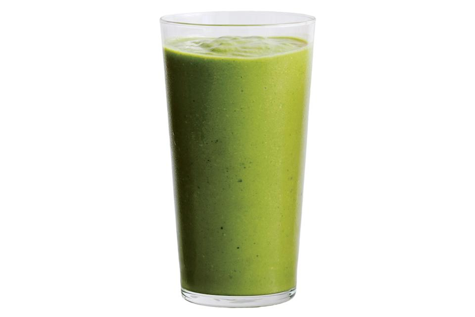 """This smoothie is filled with healthy ingredients like kale and avocado, and it gets a little sweetness from pineapple, agave, and coconut. Blend with matcha, a touch of salt, lemon juice, coconut water, and ice until smooth. <a href=""""https://www.epicurious.com/recipes/food/views/avocado-kale-pineapple-and-coconut-smoothie?mbid=synd_yahoo_rss"""" rel=""""nofollow noopener"""" target=""""_blank"""" data-ylk=""""slk:See recipe."""" class=""""link rapid-noclick-resp"""">See recipe.</a>"""