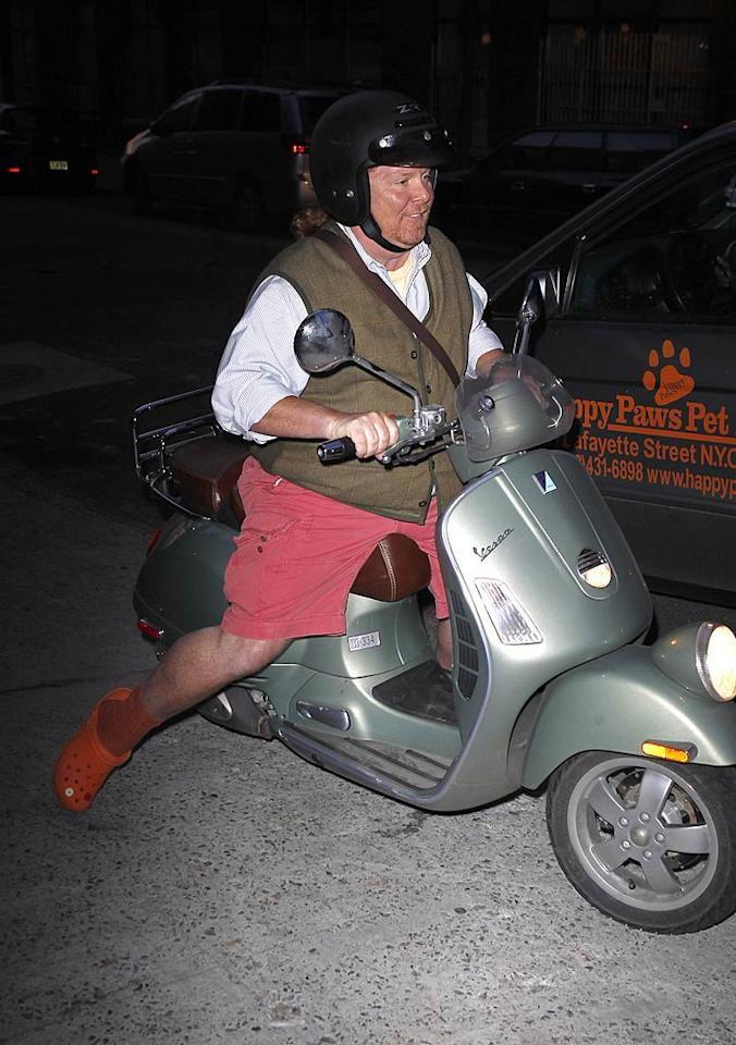 """Crocs-clad Mario Batali saved on cab money by cruising over in his Vespa. Gwyneth and Mario co-host the food-focused PBS series """"Spain ... On the Road Again."""" <a href=""""http://www.infdaily.com"""" target=""""new"""">INFDaily.com</a> - April 11, 2011"""