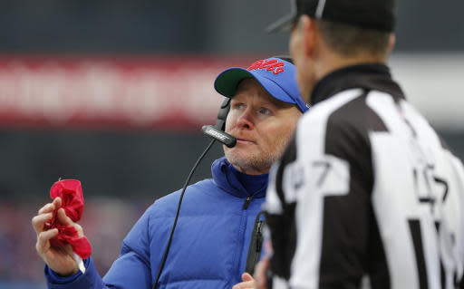 Buffalo Bills head coach Sean McDermott, left, talks with an official during the first half of an NFL football game against the Washington Redskins, Sunday, Nov. 3, 2019, in Orchard Park, N.Y. (AP Photo/John Munson)