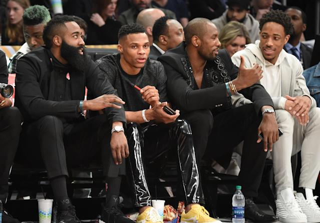 "LOS ANGELES, CA - FEBRUARY 17: (L-R) James Harden, <a class=""link rapid-noclick-resp"" href=""/nba/players/4390/"" data-ylk=""slk:Russell Westbrook"">Russell Westbrook</a>, <a class=""link rapid-noclick-resp"" href=""/nba/players/4486/"" data-ylk=""slk:Serge Ibaka"">Serge Ibaka</a> and <a class=""link rapid-noclick-resp"" href=""/nba/players/4614/"" data-ylk=""slk:DeMar Derozan"">DeMar Derozan</a> attend the 2018 State Farm All-Star Saturday Night at Staples Center on February 17, 2018 in Los Angeles, California. (Photo by Kevin Mazur/WireImage)"