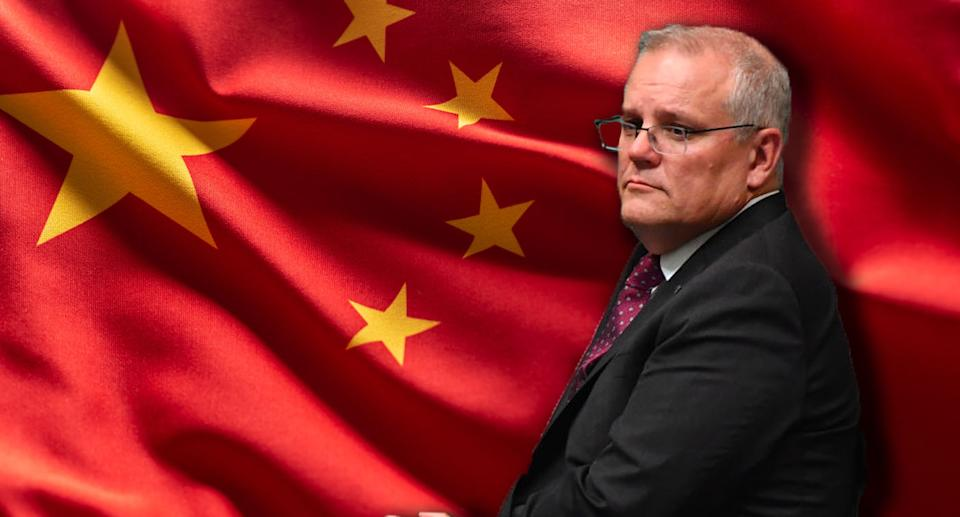 Scott Morrison placed in front of a China flag. The image has been created by Yahoo.