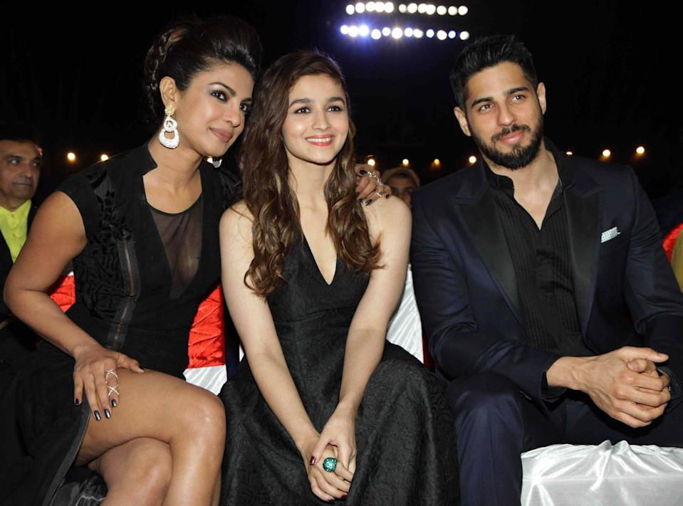 <p>File image: Priyanka Chopra and Alia Bhatt and Siddharth Malhotra at the BIG STAR Entertainment Awards 2014</p> (Getty Images)