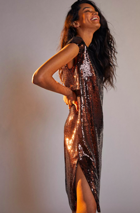 Maeve Kara Sequined Mini Dress. Image via Anthropologie.