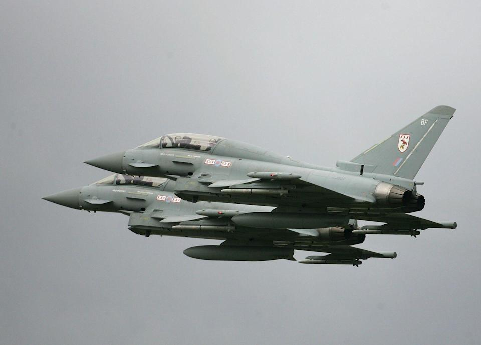"""<p>A joint venture among four European nations—the U.K., Germany, Italy, and Spain—the Eurofighter Typhoon is the master of the dogfight. The plane's agility is the product of its <a href=""""https://www.eurofighter.com/the-aircraft"""" rel=""""nofollow noopener"""" target=""""_blank"""" data-ylk=""""slk:light metal and composite airframe"""" class=""""link rapid-noclick-resp"""">light metal and composite airframe</a>, its delta wing profile coupled with distinctive nose-mounted canards, and a pair of powerful afterburning turbofan engines. </p>"""
