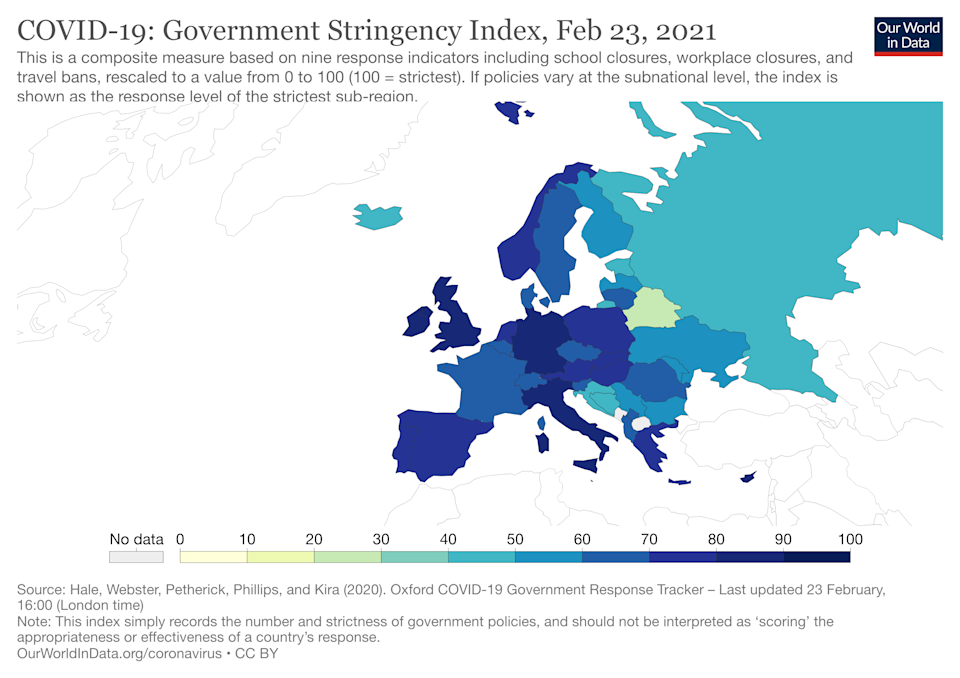 The UK currently has the strictest lockdown in Europe. (Our World In Data)