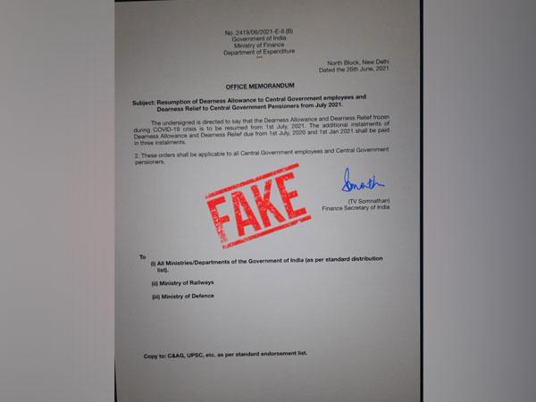 Photo of fake office memorandum tweeted by the Ministry of Finance on Saturday. (Photo: Finance Ministry Twitter)