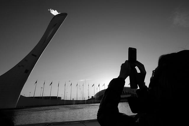 SOCHI, RUSSIA - FEBRUARY 15: (EDITORS NOTE: Image has been converted to black and white) A general view of the Olympic Cauldron in the Olympic Park during the Sochi 2014 Winter Olympics on February 15, 2014 in Sochi, Russia. (Photo by Joe Scarnici/Getty Images for USOC)