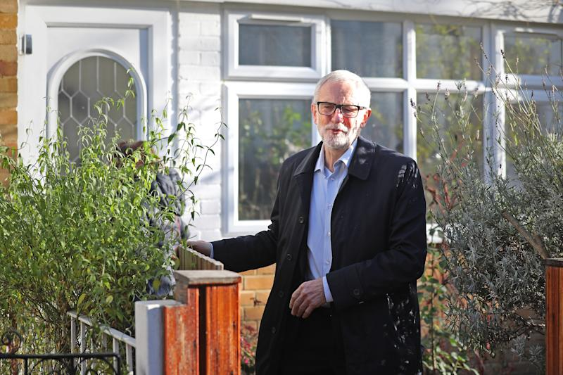 Labour Party leader Jeremy Corbyn leaves his home in Islington, north London.