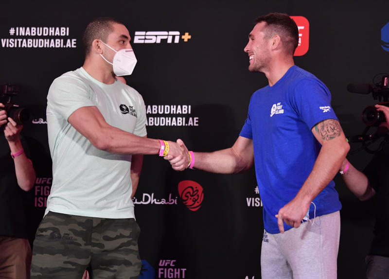 ABU DHABI, UNITED ARAB EMIRATES - JULY 24: (L-R) Opponents Robert Whittaker of New Zealand and Darren Till of England face off during the UFC Fight Night weigh-in inside Flash Forum on UFC Fight Island on July 24, 2020 in Yas Island, Abu Dhabi, United Arab Emirates. (Photo by Jeff Bottari/Zuffa LLC via Getty Images)