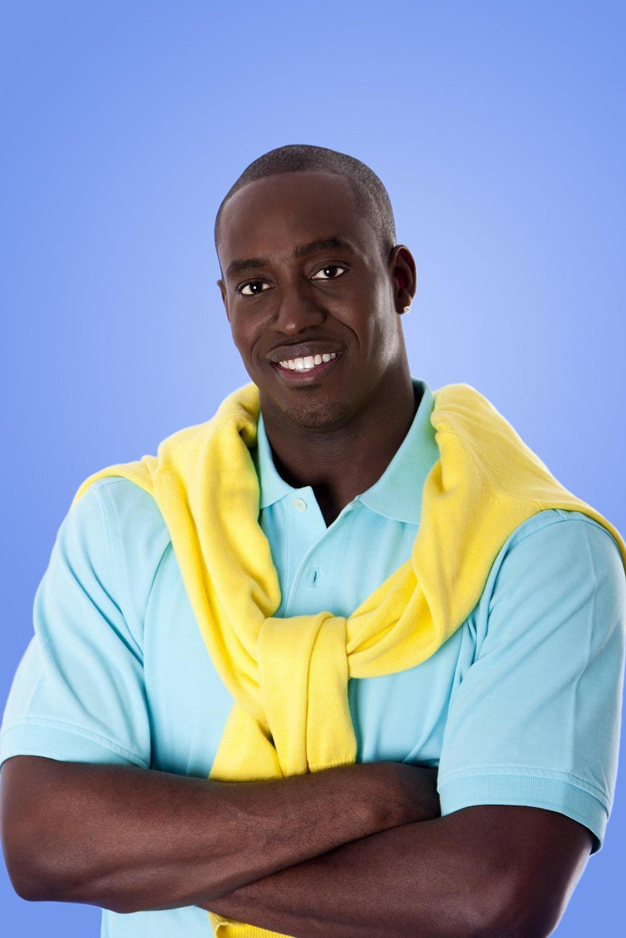 Man wearing a yellow sweater around his neck