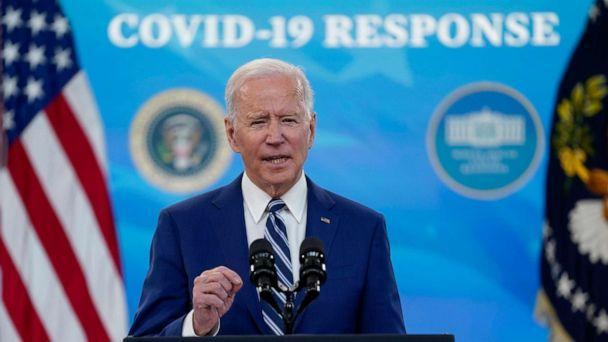 PHOTO: President Joe Biden speaks during an event on COVID-19 vaccinations and the response to the pandemic, in the South Court Auditorium on the White House campus, March 29, 2021, in Washington, D.C. (Evan Vucci/AP)