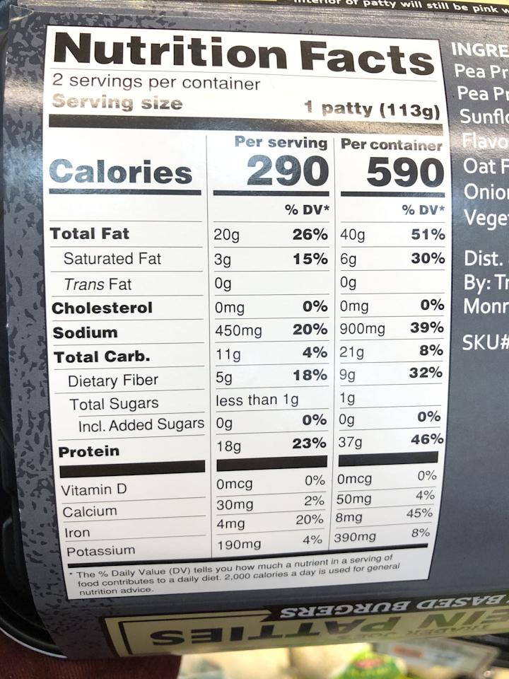 """<p>One patty is 290 calories, 20 grams of fat, three grams of saturated fat, and has zero cholesterol and 450 milligrams of sodium. It provides 11 grams of carbs and five grams of fiber and has zero grams of added sugar and 18 grams of protein. One burger also offers 190 milligrams of potassium and 20 percent of your daily iron.</p> <p>As a fan of the Beyond Burger, I wanted to see how these Trader Joe's Protein Patties compared. For a 250-calorie patty, it offers 20 grams of protein and two grams of fiber. It has just three grams of carbs, six grams of saturated fat, and 390 grams of sodium. These patties also provide 300 milligrams of potassium and 25 percent of your daily iron. A bonus with this plant-based burger is that it has zero cholesterol.  </p> <p>So the Trader Joe's Protein Patties are higher in calories, fat, and carbs, and offer slightly less protein but have over twice the amount of fiber.</p> <p>If you're a beef eater, for nutritional comparison, a <a href=""""https://ndb.nal.usda.gov/ndb/foods/show/13047?fgcd=&amp;manu=&amp;format=&amp;count=&amp;max=25&amp;offset=&amp;sort=default&amp;order=asc&amp;qlookup=ORGANIC+GRASS-FED+GROUND+BEEF%2C+UPC%3A+681131151894&amp;ds=&amp;qt=&amp;qp=&amp;qa=&amp;qn=&amp;q=&amp;ing="""" target=""""_blank"""" class=""""ga-track"""" data-ga-category=""""Related"""" data-ga-label=""""https://ndb.nal.usda.gov/ndb/foods/show/13047?fgcd=&amp;manu=&amp;format=&amp;count=&amp;max=25&amp;offset=&amp;sort=default&amp;order=asc&amp;qlookup=ORGANIC+GRASS-FED+GROUND+BEEF%2C+UPC%3A+681131151894&amp;ds=&amp;qt=&amp;qp=&amp;qa=&amp;qn=&amp;q=&amp;ing="""" data-ga-action=""""In-Line Links"""">four-ounce grass-fed beef patty is 224 calories</a> and offers 22 grams of protein and zero fiber. It has zero grams of carbs, six grams of saturated fat, and 77 milligrams of sodium. A grass-fed beef patty provides 327 grams of potassium and 12.8 percent of your daily iron. It also has 70 milligrams of cholesterol. </p>"""