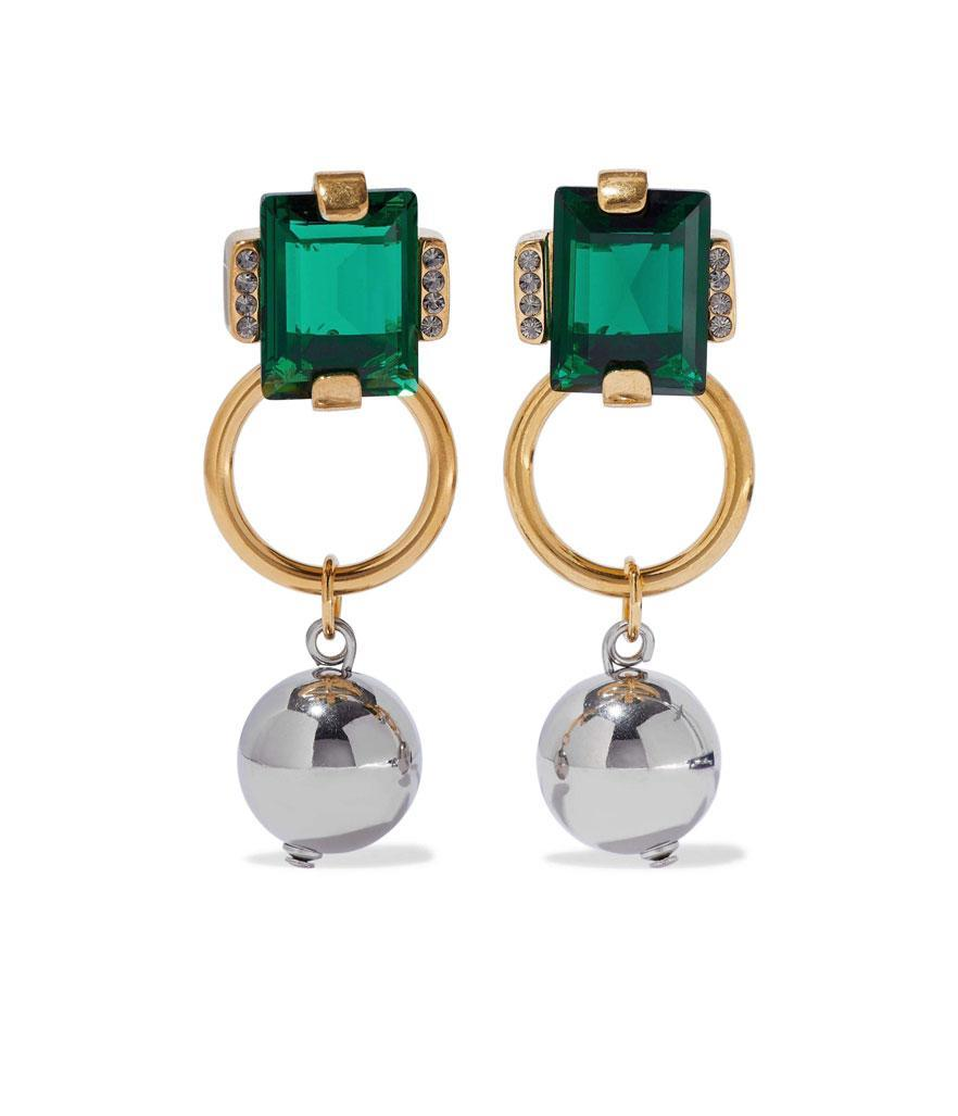 Marni Gold-tone Crystal and Bead Earrings. (Photo: The Outnet)
