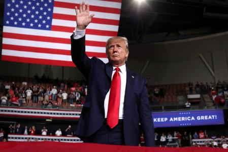 FILE PHOTO: U.S. President Trump rallies with supporters in Manchester, New Hampshire
