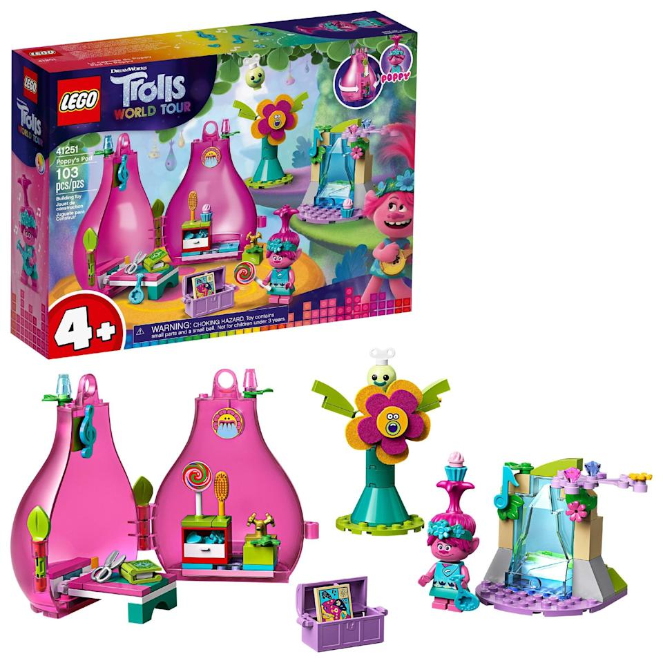 <p>The <span>Lego Trolls World Tour Poppy's Pod Set</span> ($17) has 103 pieces and is best suited for kids ages 4 and up.</p>