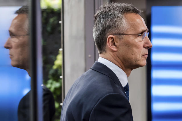 <p>NATO Secretary General Jens Stoltenberg arrives for a meeting of EU foreign and defense ministers at the Europa building in Brussels, May 18, 2017. (Photo: Geert Vanden Wijngaert/AP) </p>