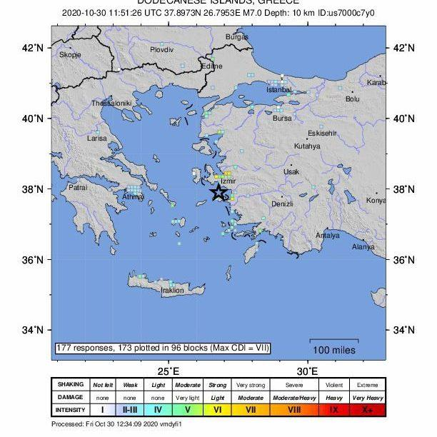 A map from the US Geological Survey (USGS) shows an intensity shake map of a 6.7-magnitude earthquake that has hit near Neon Karlovasion, Greece - USGS HANDOUT/EPA-EFE/Shutterstock /Shutterstock