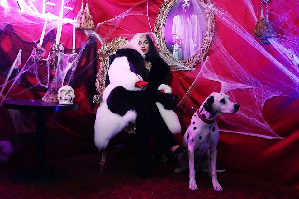 <p>The rapper came as Cruella de Vil, with her own Dalmatian, for the Dress To Be Free Halloween party in New York in 2017.</p>