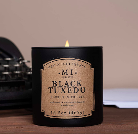 Manly Indulgence Black Tuxedo Scented Jar Candle. Image via Amazon.