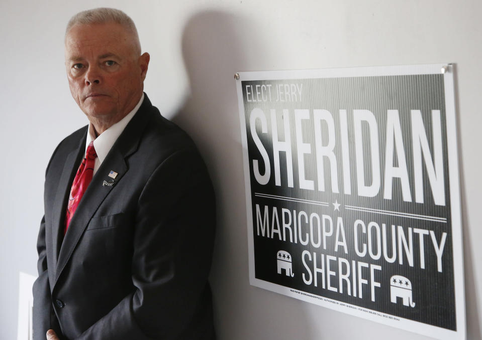 Jerry Sheridan is running for the position of Maricopa County Sheriff in the Republican primary shown here Wednesday, July 22, 2020, in Fountain Hills, Ariz. Former Maricopa County Sheriff Joe Arpaio is trying to win back the sheriff's post in metro Phoenix. He faces his former second-in-command, Sheridan, in the Aug. 4 Republican primary. Sheridan, who said Arpaio backed out a promise to support him, said his 38 years in law enforcement could help turn around a tarnished agency and insisted that he is his own man. (AP Photo/Ross D. Franklin)