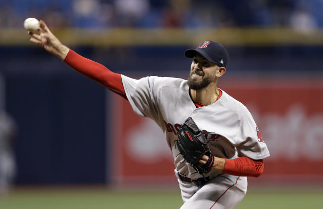 Boston Red Sox starting pitcher Rick Porcello delivers to the Tampa Bay Rays during the first inning of a baseball game Thursday, May 24, 2018, in St. Petersburg, Fla. (AP Photo/Chris O'Meara)