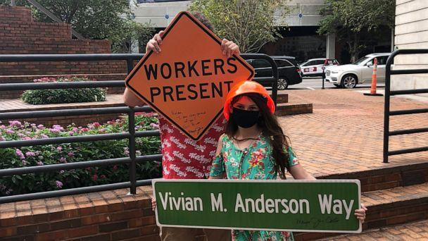 PHOTO: Vivian Anderson, 10, wrote a letter to Jane Castor, mayor of Florida's city of Tampa, when she noticed construction signs weren't inclusive of both male and female workers. (Mary Anderson )