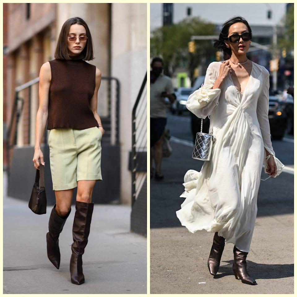 Mary Leest wearing a J. Crew top, Aritzia shorts and Tony Bianco boots; right, Chriselle Lim wearing a Khate dress and silver Chanel bag - Daniel Zuchnik / Getty Images North America