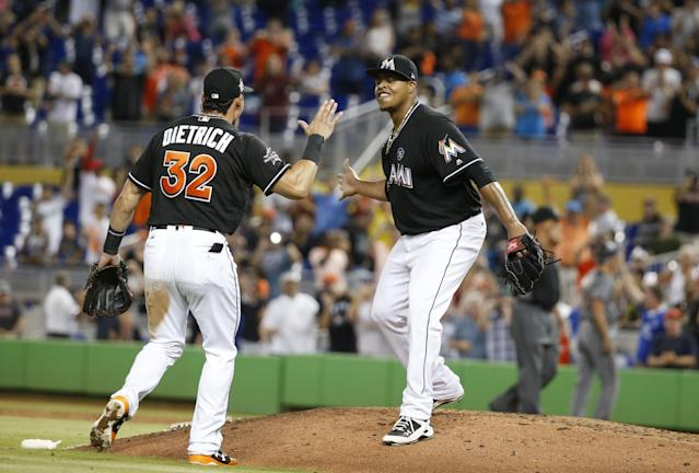 Edinson Volquez dedicated the sixth no-hitter in Marlins history, the 296th in major league history, the 3-0 win against the Arizona Diamondbacks, to the two men who were not there. (AP Images)